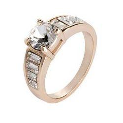 Pierścionek z kryształami Swarovskiego® bonprix pozłacany