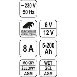 Prostownik elektroniczny 6/12v 8a 5-200ah / YT-8301 / YATO - ZYSKAJ RABAT 30 ZŁ