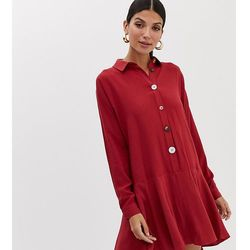 ASOS DESIGN Tall swing mini shirt dress with contrast buttons - Red