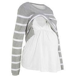 Sweter ciążowy i do karmienia bonprix jasnoszary melanż - biały w paski