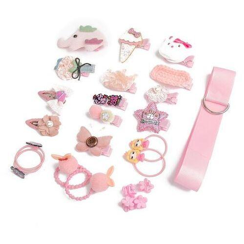Pozostała biżuteria, Zestaw dla dziewczynki różowy spinki gumki prezent