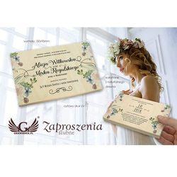 Zaproszenia ślubne z naturalnego drewna - cyfrowy druk UV - ZAP050