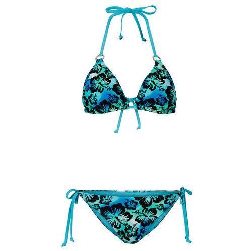 Stroje kąpielowe, Bikini z trójkątnymi miseczkami (2 części) bonprix niebieski wzorzysty