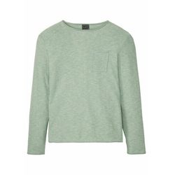 Sweter z kieszonką na wys. piersi i wywiniętymi brzegami bonprix pastelowy zielony - zielono-beżowy