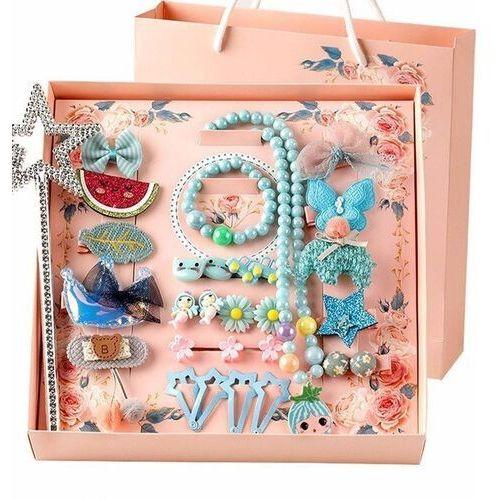 Pozostała biżuteria, Zestaw dla dziewczynki niebieski spinki naszyjnik