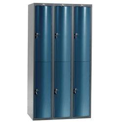 Metalowa szafa ubraniowa CURVE, 3x2 drzwi, 1740x900x550 mm, niebieski