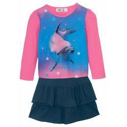 Shirt dziewczęcy z długim rękawem + spódniczka (2 części), bawełna organiczna bonprix różowy flaming - ciemnoniebieski
