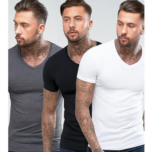 T-shirty męskie, ASOS Muscle T-Shirt With V Neck 3 Pack SAVE - Multi