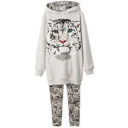 Bluza dresowa dziewczęca + legginsy (2 części) bonprix naturalny melanż