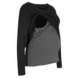 Shirt dwuwarstwowy ciążowy i do karmienia piersią bonprix biało-czarny w paski