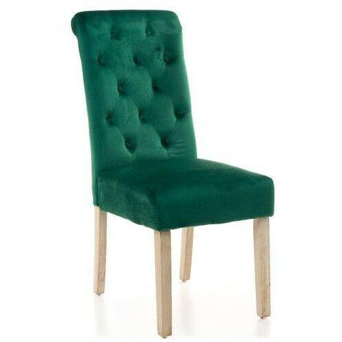 Krzesła, KRZESŁO TAPICEROWANE DREWNIANE MY8010 ZIELONY WELUR