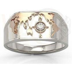 Sygnet Morski z białego i różowego złota z brylantem SJ-1410BP - Białe i różowe