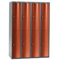 Pozostała odzież robocza i BHP, Metalowa szafa ubraniowa CURVE, 4x2 drzwi, 1740x1200x550 mm, czerwony
