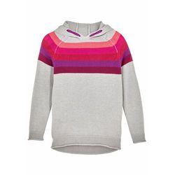 Sweter dziewczęcy z kapturem, w paski bonprix jasnoszary melanż w paski
