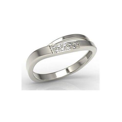 Pierścionki i obrączki, Pierścionek z białego złota z diamentami LP-97B - Białe \ Diament