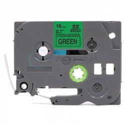 Taśma Brother TZe-S741 mocny klej zielona/czarny nadruk 18mm x 8m zamiennik