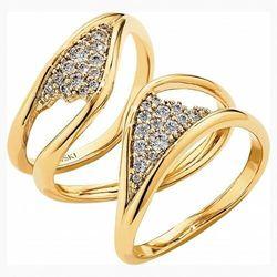 Pozłacany szeroki pierścionek z kolekcji Gilded Treasures, biały, powlekany złotem