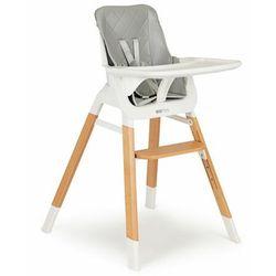 Krzesełko, fotelik do karmienia dzieci, drewniane nogi, szare