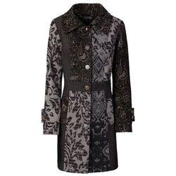 Płaszcz w żakardowy wzór bonprix czarno-kolorowy