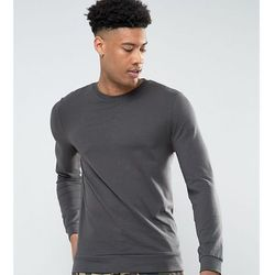 ASOS TALL Lightweight Muscle Sweatshirt In Washed Black - Black