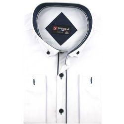 Koszula Męska Speed. A gładka biała SLIM FIT z mankietami na spinki D914