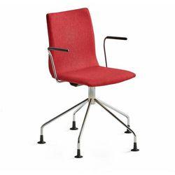 Krzesło konferencyjne OTTAWA, nogi pająka, podłokietniki, czerwona tkanina, chrom