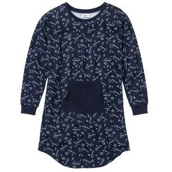 Koszula nocna z dzianiny dresowej bonprix ciemnoniebieski z nadrukiem