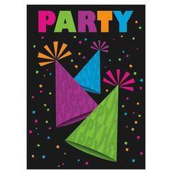 Zaproszenie urodzinowe Neon Party - 1 szt.