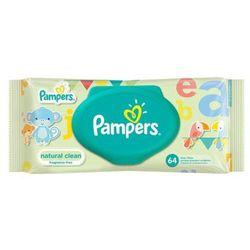 PAMPERS 64szt Natural Clean Chusteczki nawilżane dla niemowląt