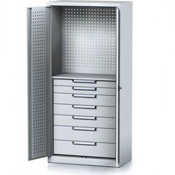 Szafa warsztatowa MECHANIC, 1950 x 920 x 500 mm, 1 półka, 7 szuflad, szare drzwi