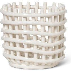 Kosz do przechowywania ferm living 14,5 cm beżowy ceramiczny