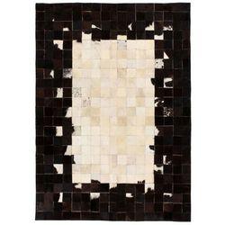 Dywan ze skóry, patchwork w kwadraty, 120x170 cm, czarno-biały