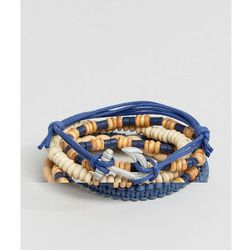 ASOS Leather and Beaded Bracelet Pack In Blue - Multi