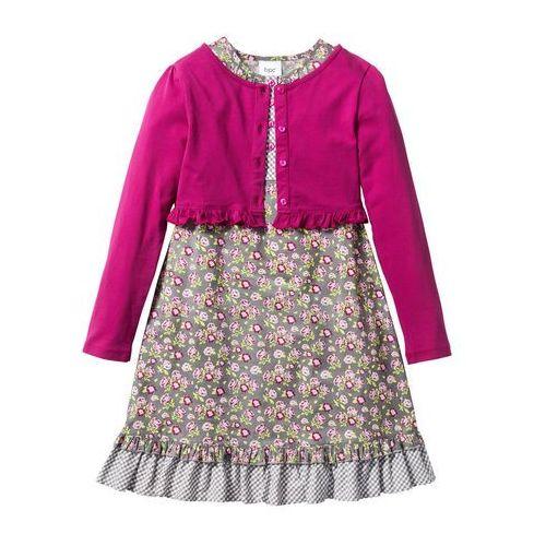 Zestawy odzieżowe dziecięce, Sukienka + shirt rozpinany (2 części) bonprix matowy srebrny - jasnoróżowo-fuksja w kwiaty
