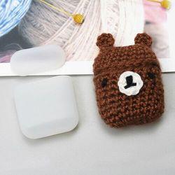 Silikonowe etui pudełeczko case na słuchawki AirPods 2gen / 1gen z wełnianą nakładką miś - 4