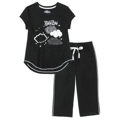 Piżamy damskie, Piżama ze spodniami 3/4 bonprix czarno-biały