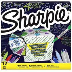 Marker Sharpie Fine - zestaw 12 kolorów + 6 przywieszek do prezentów (SHP-2079808)