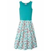 Sukienki dziecięce, Letnia sukienka dziewczęca bonprix zielony morski - pastelowy miętowy z nadrukiem