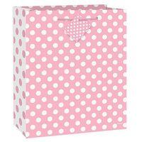 Opakowania prezentowe, Torebka prezentowa jasnoróżowa w białe kropeczki 32x27 cm - 1 szt.