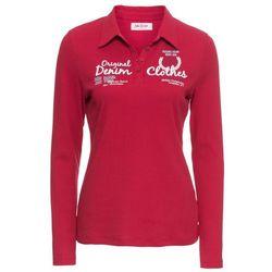 Shirt polo z nadrukiem, długi rękaw bonprix ciemnoczerwony