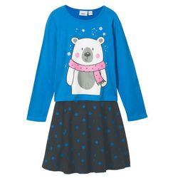 Shirt z długim rękawem + spódniczka (2 części) bonprix lodowy niebieski - czarny