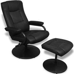 vidaXL Fotel z podnóżkiem, skóra syntetyczna, czarny Darmowa wysyłka i zwroty