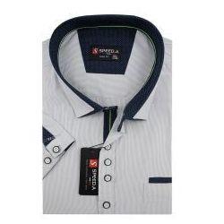 Koszula Męska Speed.A beżowa w białe paski na krótki rękaw duże rozmiary K695