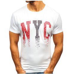 T-shirt męski z nadrukiem biały Denley KY05