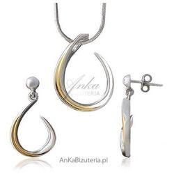 ankabizuteria.pl Kobieca biżuteria -srebrny komplet rodowany i pozłacany