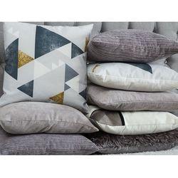 Poduszka dekoracyjna w prostokąty bawełniana szara 45 x 45 cm