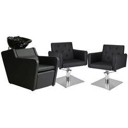 Zestaw Mebli Fryzjerskich - Myjnia Perfect + 2 Fotele Hamburg Kwadrat