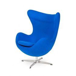 Fotel EGG CLASSIC chabrowy niebieski.33 - wełna, podstawa chromowana