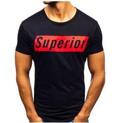 T-shirt męski z nadrukiem czarny Denley KY19
