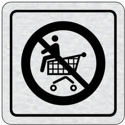 Tabliczka na drzwi -Zakaz jazdy na wózku sklepowym